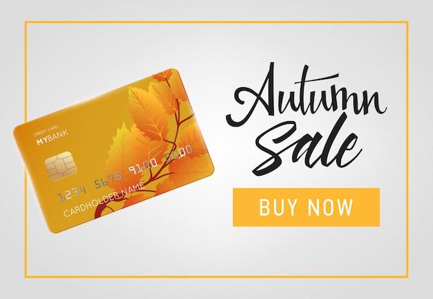 Rebajas de otoño, compra ya rotulación con tarjeta de crédito en marco.