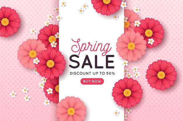 Rebajas de primavera realista con flores rosas.