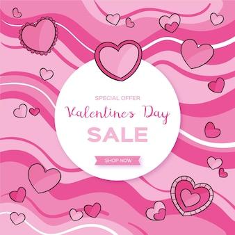 Rebajas de san valentín dibujadas a mano con corazones rosas