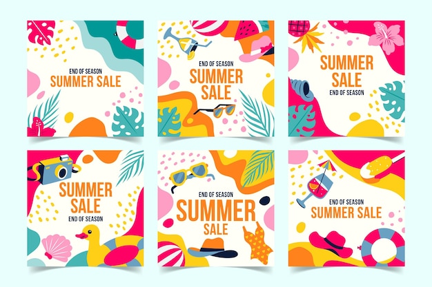 Rebajas de verano de fin de temporada publicaciones de instagram