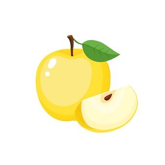 Rebanada colorida brillante y entera de manzana jugosa.