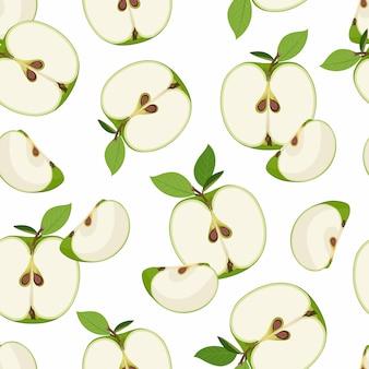 Rebanada de manzana de patrones sin fisuras