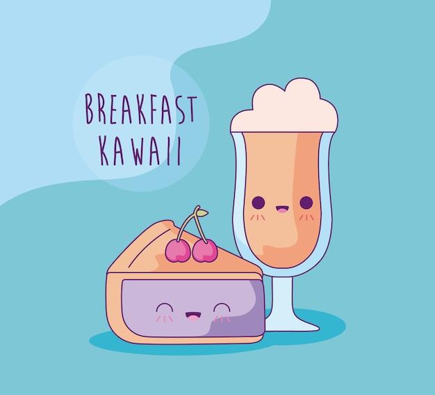 Rebanada de pastel con bebida de café para el desayuno al estilo kawaii