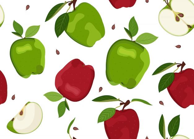 Rebanada y patrón transparente de apple