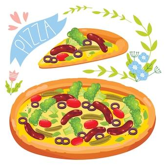 Rebanada de pizza aislado sobre fondo blanco.