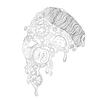 Rebanada de pizza en blanco y negro con verduras y carne con arte lineal o estilo doodle - comida de la calle