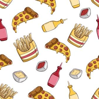 Rebanada de pizza con papas fritas en patrones sin fisuras con estilo dibujado a mano coloreado