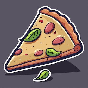 Rebanada de pizza con queso y albahaca. vector ilustración de dibujos animados