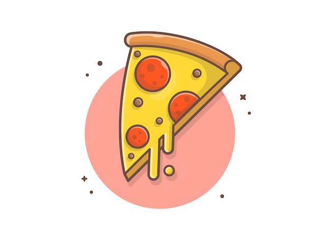 Rebanada de pizza, queso derretido y carne vector de imágenes prediseñadas ilustración