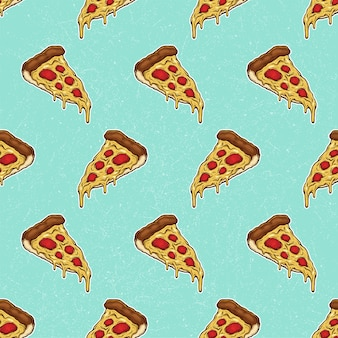 Rebanada de pizza con queso derretido y pepperoni patrón dibujado a mano ilustración
