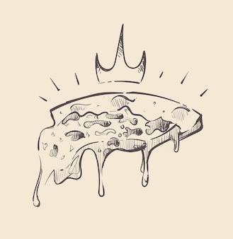 Una rebanada de pizza real con un dibujo de queso colgando