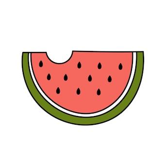 Rebanada de sandía estilo doodle. fruta dulce de verano. ilustración simple aislado sobre fondo blanco. icono de verano