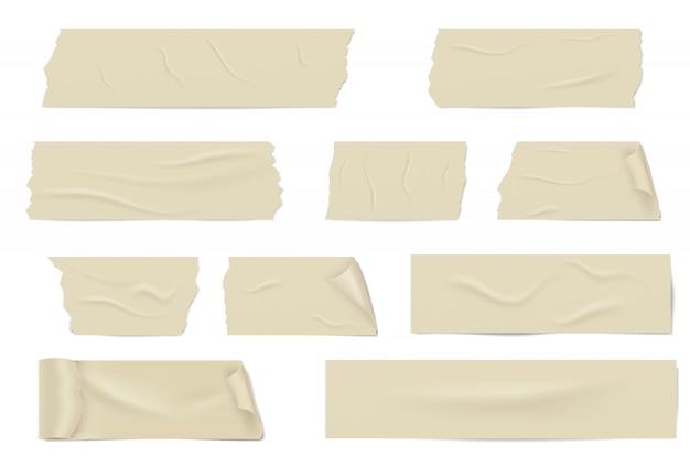 Rebanadas de una cinta adhesiva con sombra y arrugas.