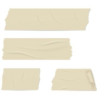 Rebanadas de cinta adhesiva con sombra y arrugas.