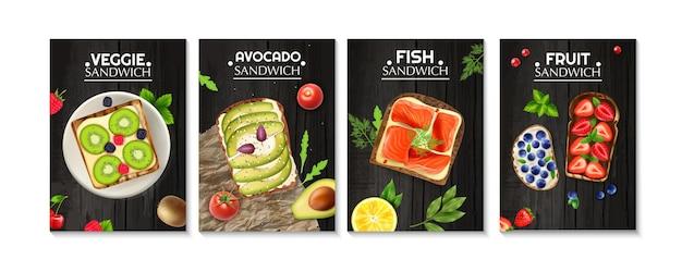 Rebanadas de pan con verduras, pescado y bayas conjunto de carteles ilustración