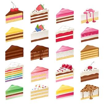 Rebanadas de pasteles dulces coloridos establece la ilustración.