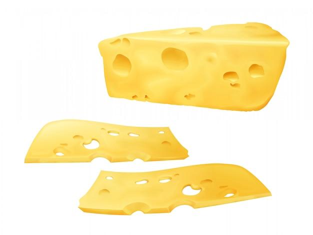 Rebanadas de queso ilustración 3d de emmental en rodajas o queso cheddar y edam con agujeros.