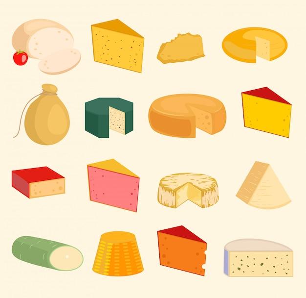 Rebanadas de queso paz variedad iconos conjunto de dibujos animados ilustración aislada. queso lácteo variedades alimentos y leche camembert. diferentes delicatessen queso mozzarella gouda, tofu. parmesano