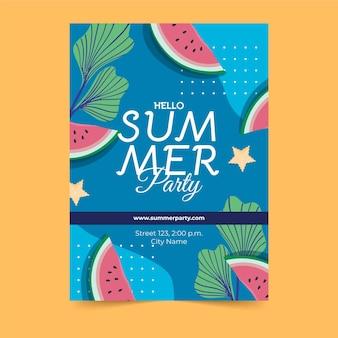 Rebanadas de sandía cartel de fiesta de verano dibujado a mano
