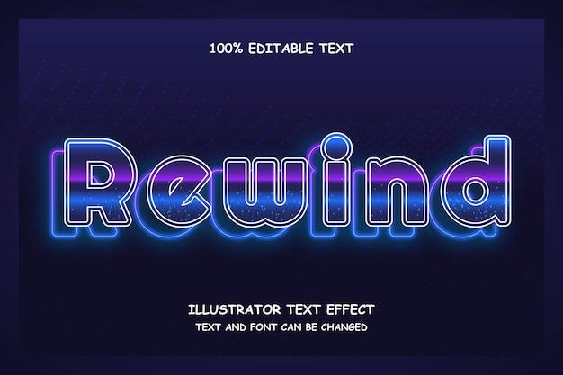 Rebobinado, efecto de texto editable en 3d estilo de patrón de neón futurista moderno