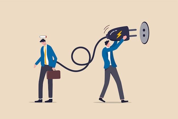 Recargue energía al empleado de la oficina de fatiga exhausto.