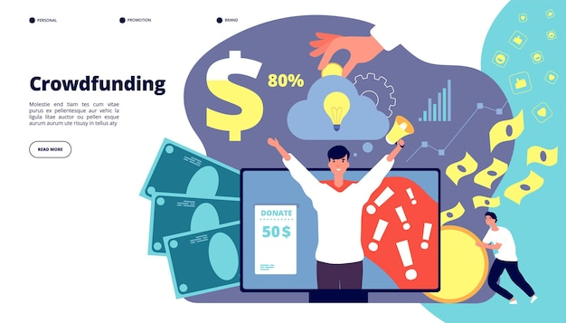 Recaudación de fondos. puesta en marcha del servicio de internet de inversión financiera. desarrollo, estrategia de gestión de ingresos en efectivo, página de inicio de vectores de asociación. ilustración de crowdfunding de inversión, inversión de finanzas de dinero