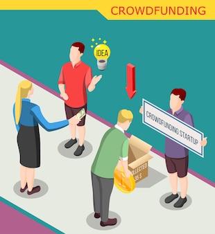Recaudar dinero para el inicio de crowdfunding isométrico
