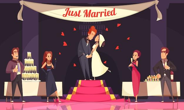 Recepción de boda con invitados y novios mesas de banquete con dibujos animados de comida y bebida
