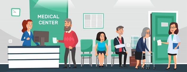 Recepción clínica. los pacientes del hospital, la sala de espera del médico y las personas esperan la ilustración de vector de dibujos animados de atención médica de los médicos