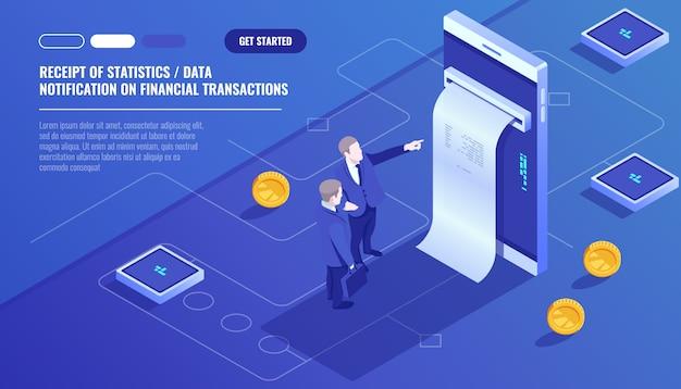 Recepción de datos estadísticos, notificación de transacción financiera, banco móvil