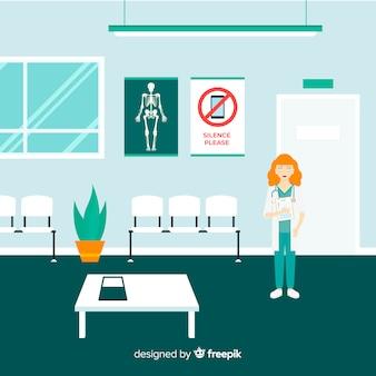 Recepción de hospital con diseño plano