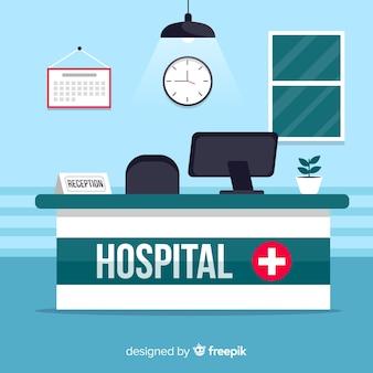 Recepción de hospital moderno con diseño plano
