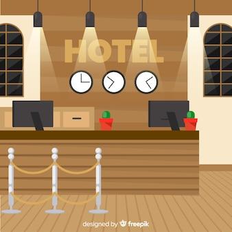 Recepción de hotel moderno con diseño plano