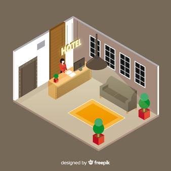 Recepción de hotel moderno con vista isométrica