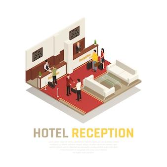 Recepción del hotel con personal y área de invitados de turistas con composición isométrica de muebles blancos