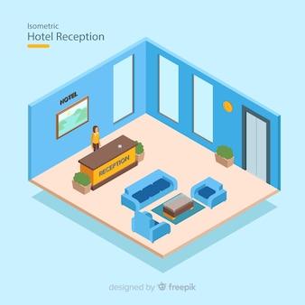 Recepción de hotel con vista isométrica