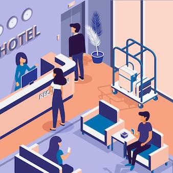 Recepción isométrica del hotel ilustrada