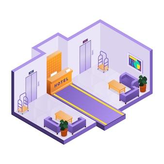 Recepción isométrica ilustrada del hotel