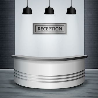 Recepción lobby oficina interior realista