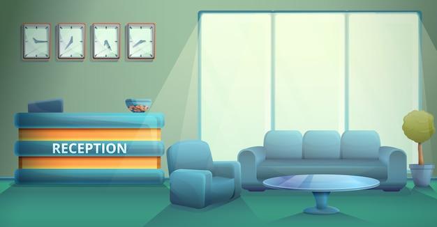 Recepción de la oficina en la mañana en estilo de dibujos animados, ilustración vectorial
