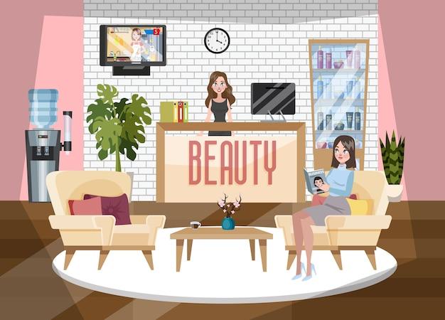 Recepción de salón de belleza y spa. hermosa administradora