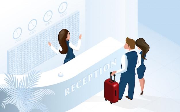 Recepcionista en el hotel recepción bienvenida pareja