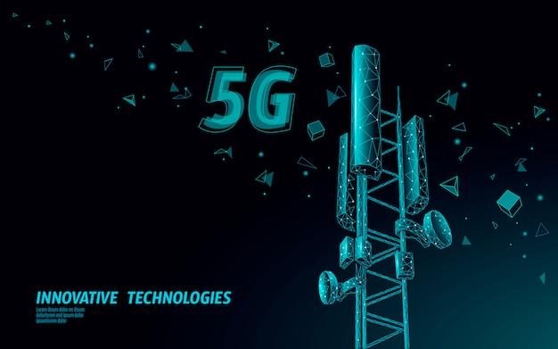 Receptor de estación base 3d. torre de telecomunicaciones 5g diseño poligonal conexión global transmisor de información. ilustración celular de antena de radio móvil