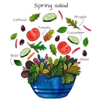 Receta de acuarela de deliciosa ensalada de primavera