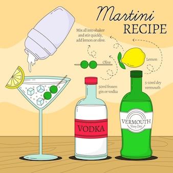 Receta de cóctel de bebidas alcohólicas martini