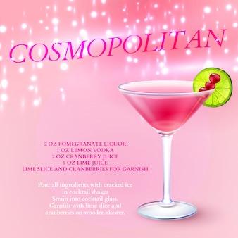 Receta de cóctel cosmopolita