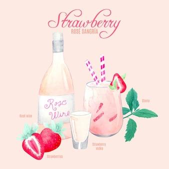 Receta de cóctel de fresa y sangría rosa