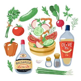 Receta de ensalada, tomate pimiento rábano pepino cayendo en un tazón