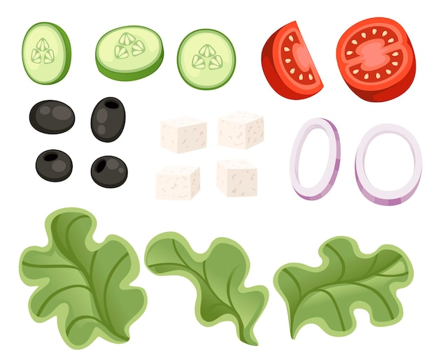 Receta de ensalada de verduras. ingrediente de ensalada griega. alimentos de diseño de dibujos animados de verduras frescas. ilustración plana aislada sobre fondo blanco.