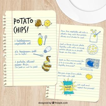 Receta esbozada de patatas fritas